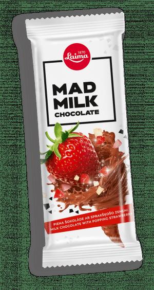 Mad Milk Piena šokolāde ar sprakšķošo zemeni, 90g