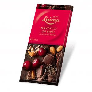 Tumšā šokolāde ar ķiršiem un mandelēm, 100g