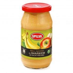 Ābolu biezenis ar banāniem un saldo krējumu, 500g
