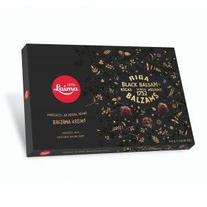 Tumšās šokolādes konfekšu izlase ar Rīgas Melnā Balzama krēmu 420g