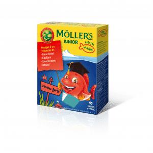 Möller's JUNIOR zivju eļļa ar zemeņu un aveņu garšu N45